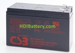 Batería para moto electrica 12v 9ah Plomo AGM HR-1234W CSB Alto Rendimiento